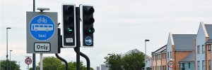 traffic lights with bus only sign