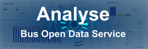 Analyse Bus Open Data Service text over a dashboard of graphs